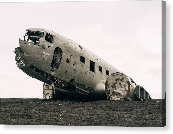 Airplane Wreckage Abandoned In Iceland - Canvas Print from Wallasso - The Wall Art Superstore