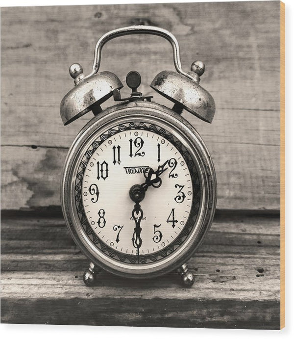 Alarm Clock In Sepia - Wood Print from Wallasso - The Wall Art Superstore