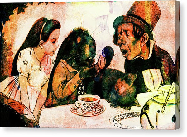 Alice, White Rabbit, Dormouse, Mad Hatter, Colorful Vintage Alice In Wonderland Illustration - Canvas Print from Wallasso - The Wall Art Superstore