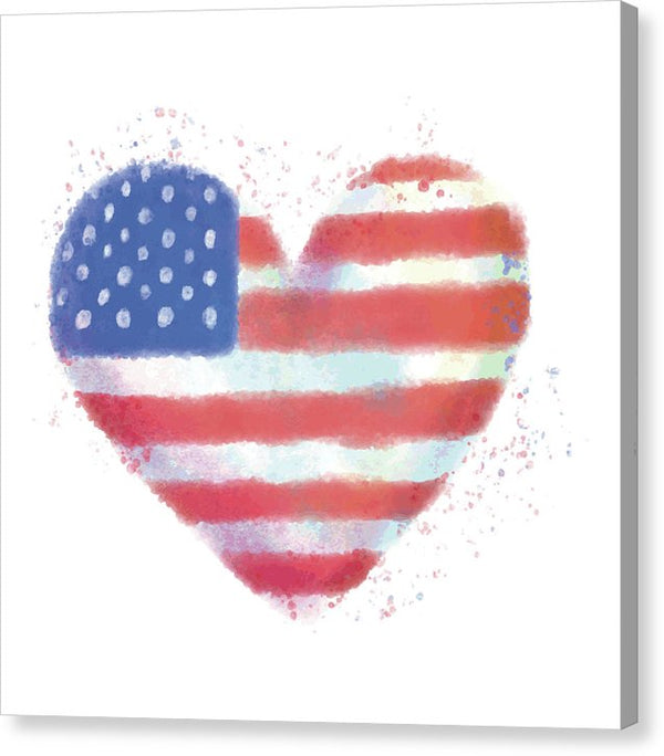 American Flag In Heart Watercolor Painting - Canvas Print from Wallasso - The Wall Art Superstore