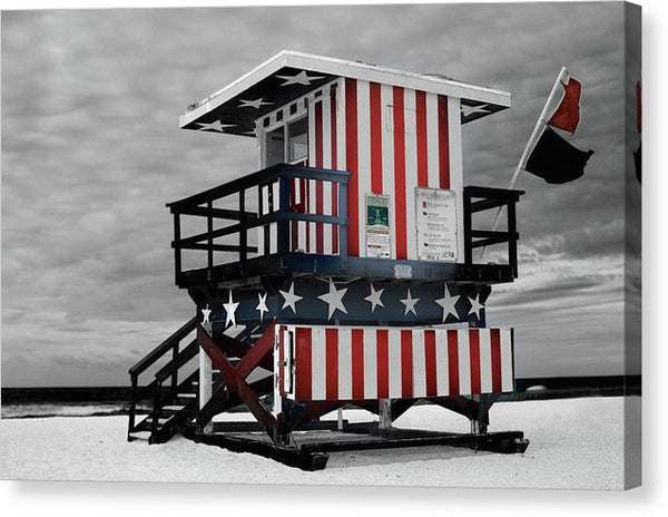 American Flag Lifeguard Tower - Canvas Print from Wallasso - The Wall Art Superstore