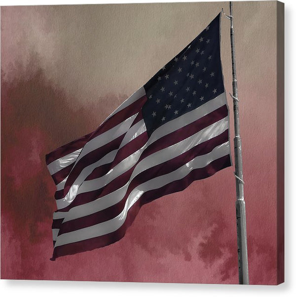 American Flag With Watercolor Background - Canvas Print from Wallasso - The Wall Art Superstore