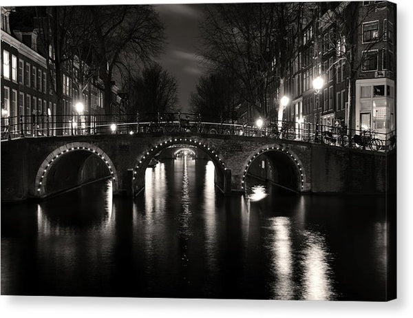 Amsterdam Bridge At Night - Canvas Print from Wallasso - The Wall Art Superstore