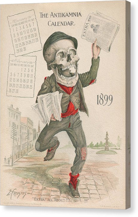 Antique Antikamnia Newspaper Skeleton, 1899 - Canvas Print from Wallasso - The Wall Art Superstore