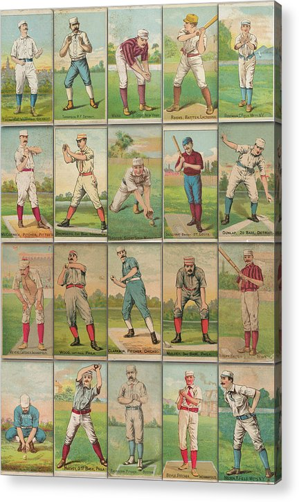 Antique Baseball Card Collage - Acrylic Print from Wallasso - The Wall Art Superstore
