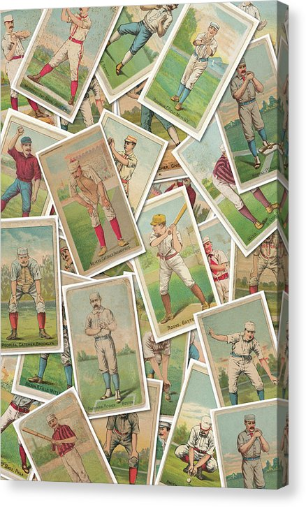 Antique Baseball Card Jumble Collage - Canvas Print from Wallasso - The Wall Art Superstore