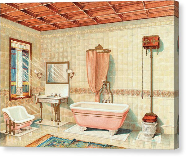 Antique Bathroom Interior Illustration - Canvas Print from Wallasso - The Wall Art Superstore