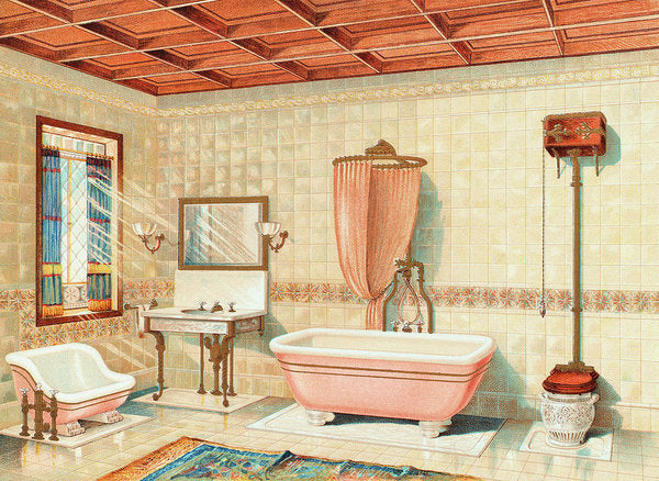 Antique Bathroom Interior Illustration - Art Print from Wallasso - The Wall Art Superstore