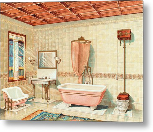 Antique Bathroom Interior Illustration - Metal Print from Wallasso - The Wall Art Superstore