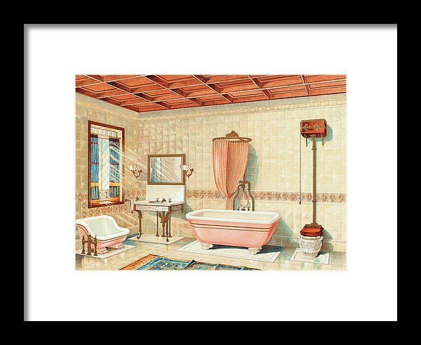 Antique Bathroom Interior Illustration - Framed Print from Wallasso - The Wall Art Superstore