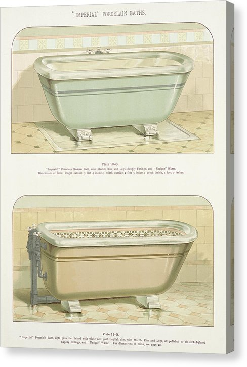 Antique Bathtub Illustration, 1888 - Canvas Print from Wallasso - The Wall Art Superstore