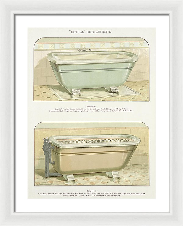 Antique Bathtub Illustration, 1888 - Framed Print from Wallasso - The Wall Art Superstore