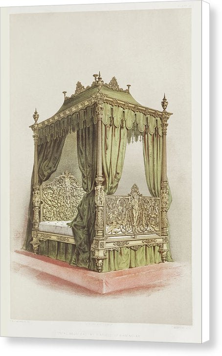 Antique Bed Illustration - Canvas Print from Wallasso - The Wall Art Superstore
