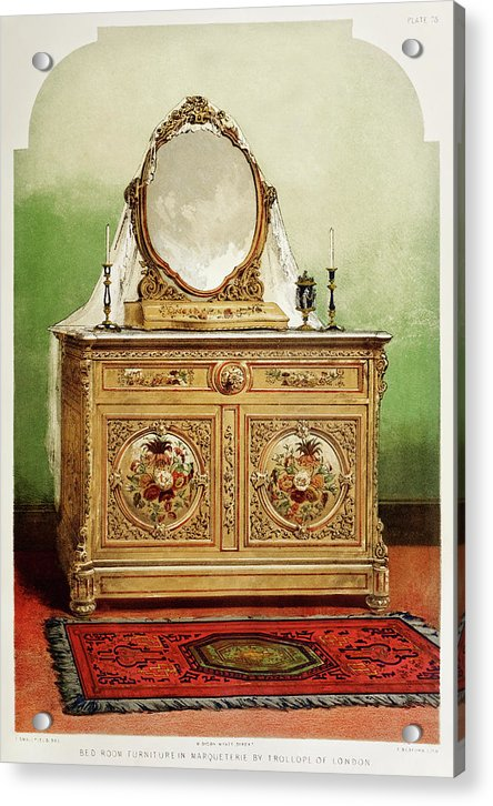 Antique Bedroom Dresser Illustration - Acrylic Print from Wallasso - The Wall Art Superstore