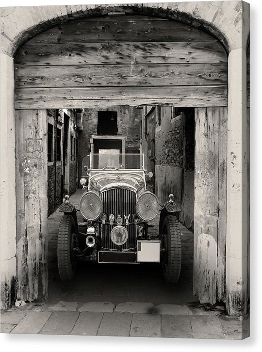 Antique Car In Alley - Canvas Print from Wallasso - The Wall Art Superstore