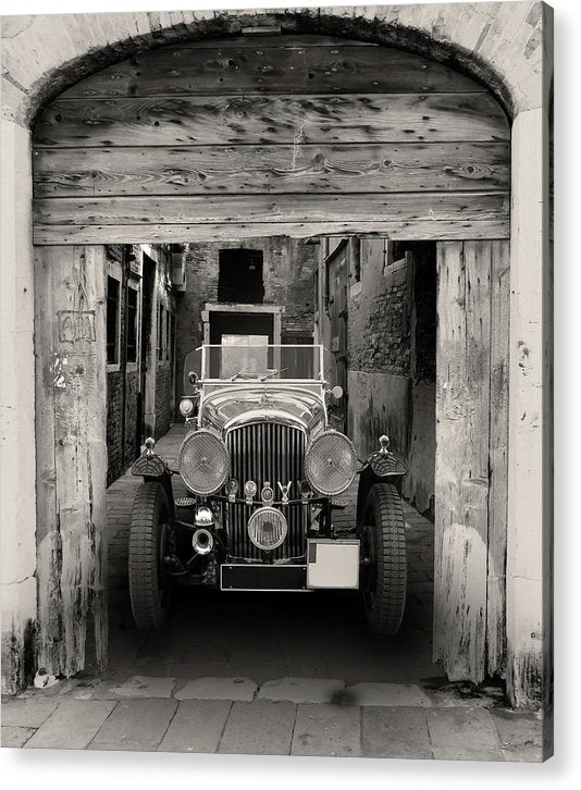 Antique Car In Alley - Acrylic Print from Wallasso - The Wall Art Superstore
