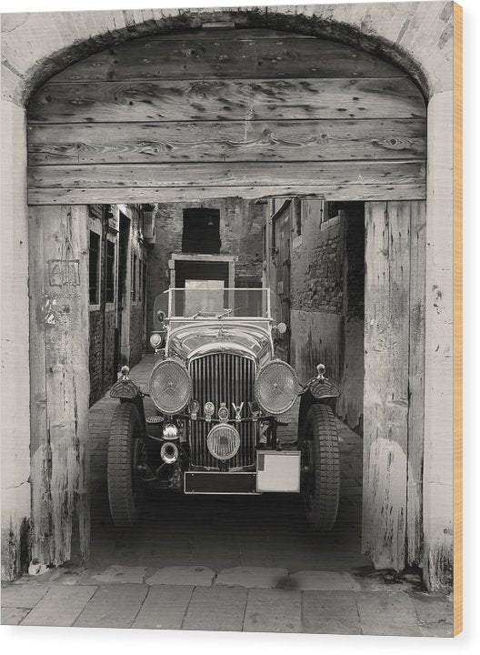 Antique Car In Alley - Wood Print from Wallasso - The Wall Art Superstore
