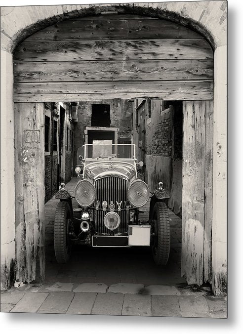 Antique Car In Alley - Metal Print from Wallasso - The Wall Art Superstore