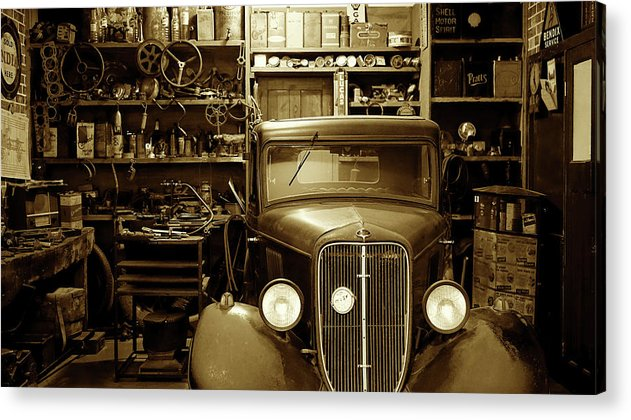 Antique Car In Garage - Acrylic Print from Wallasso - The Wall Art Superstore