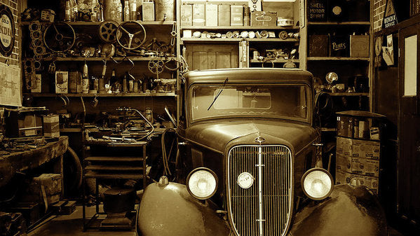 Antique Car In Garage - Art Print from Wallasso - The Wall Art Superstore
