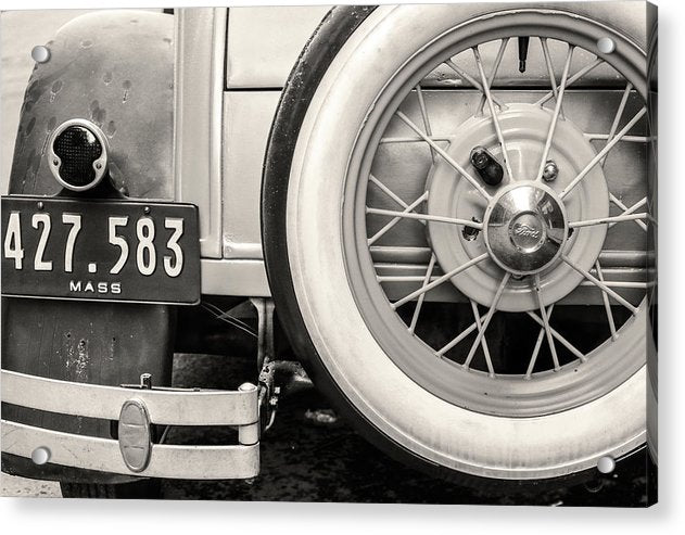 Antique Car Trunk and Tire - Acrylic Print from Wallasso - The Wall Art Superstore