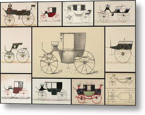 Antique Carriage Illustration Collage, Black Grid - Metal Print from Wallasso - The Wall Art Superstore