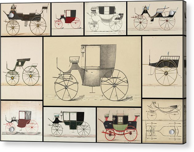 Antique Carriage Illustration Collage, Black Grid - Acrylic Print from Wallasso - The Wall Art Superstore