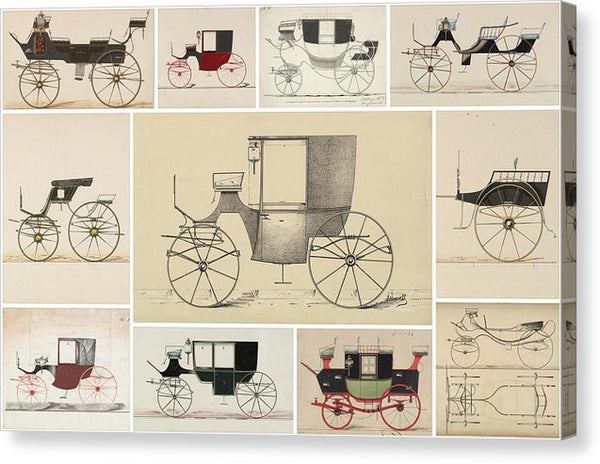 Antique Carriage Illustration Collage, White Grid - Canvas Print from Wallasso - The Wall Art Superstore