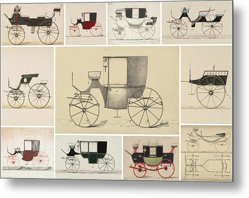 Antique Carriage Illustration Collage, White Grid - Metal Print from Wallasso - The Wall Art Superstore