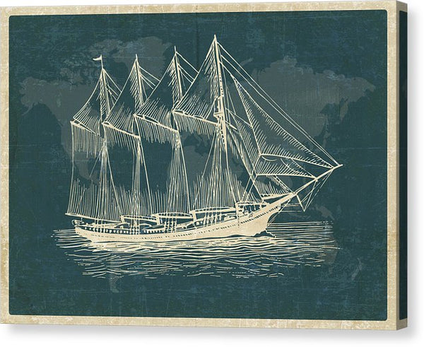 Antique Clipper Sailboat Etching Design - Canvas Print from Wallasso - The Wall Art Superstore