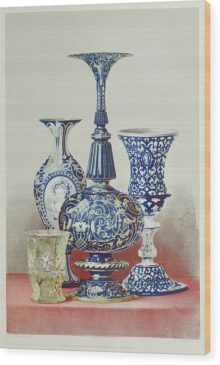 Antique Glass Vases - Wood Print from Wallasso - The Wall Art Superstore