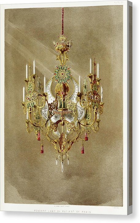 Antique Gold Chandelier Illustration - Canvas Print from Wallasso - The Wall Art Superstore