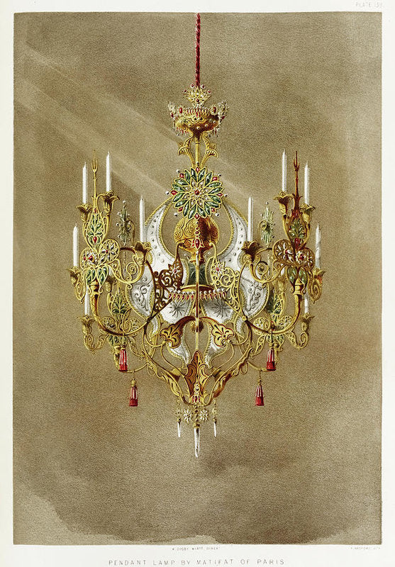 Antique Gold Chandelier Illustration - Art Print from Wallasso - The Wall Art Superstore