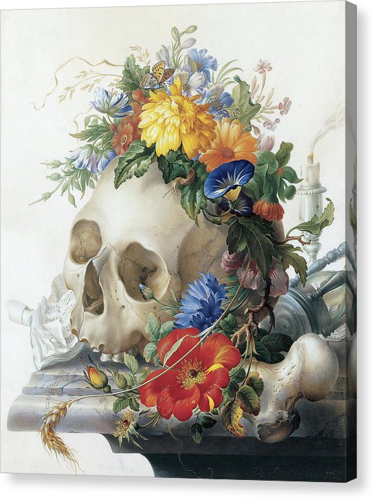 Antique Human Skull With Flower Crown Painting - Canvas Print from Wallasso - The Wall Art Superstore