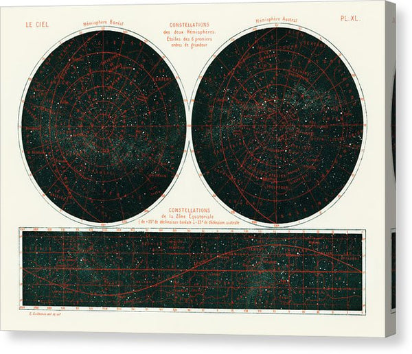 Antique Illustration of Constellations of The Two Hemispheres, 1877 - Canvas Print from Wallasso - The Wall Art Superstore
