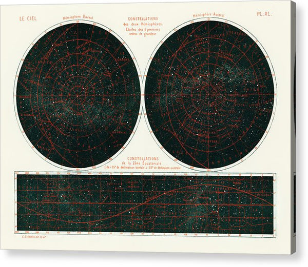 Antique Illustration of Constellations of The Two Hemispheres, 1877 - Acrylic Print from Wallasso - The Wall Art Superstore