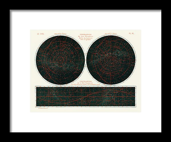 Antique Illustration of Constellations of The Two Hemispheres, 1877 - Framed Print from Wallasso - The Wall Art Superstore