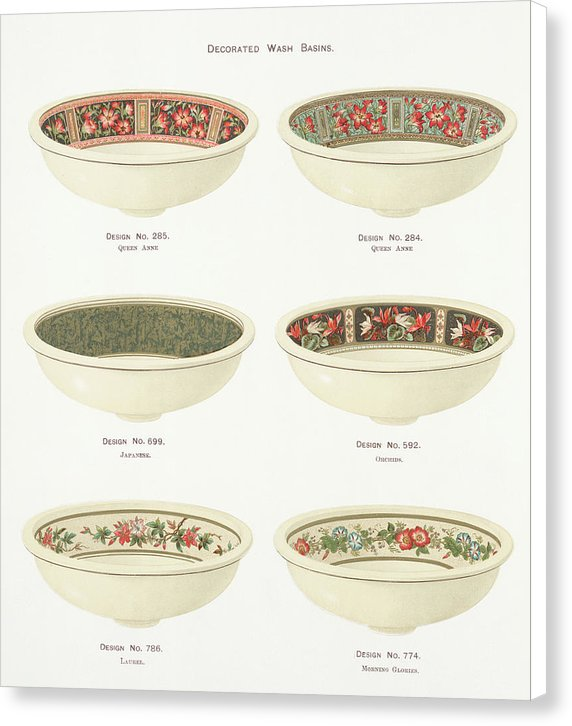 Antique Illustration of Decorative Bowls From 1884, 1 of 4 Set - Canvas Print from Wallasso - The Wall Art Superstore