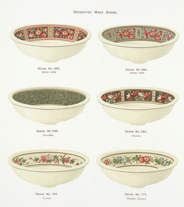 Antique Illustration of Decorative Bowls From 1884, 1 of 4 Set - Art Print from Wallasso - The Wall Art Superstore