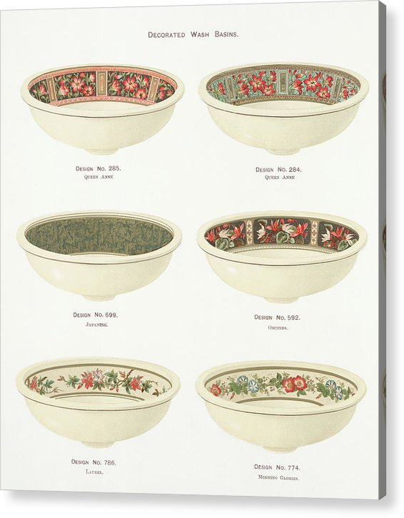 Antique Illustration of Decorative Bowls From 1884, 1 of 4 Set - Acrylic Print from Wallasso - The Wall Art Superstore