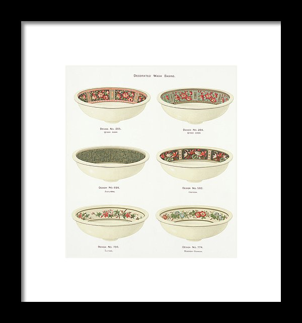 Antique Illustration of Decorative Bowls From 1884, 1 of 4 Set - Framed Print from Wallasso - The Wall Art Superstore