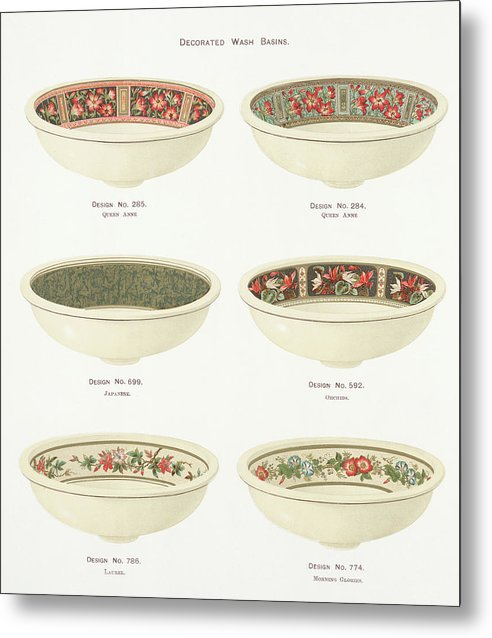 Antique Illustration of Decorative Bowls From 1884, 1 of 4 Set - Metal Print from Wallasso - The Wall Art Superstore
