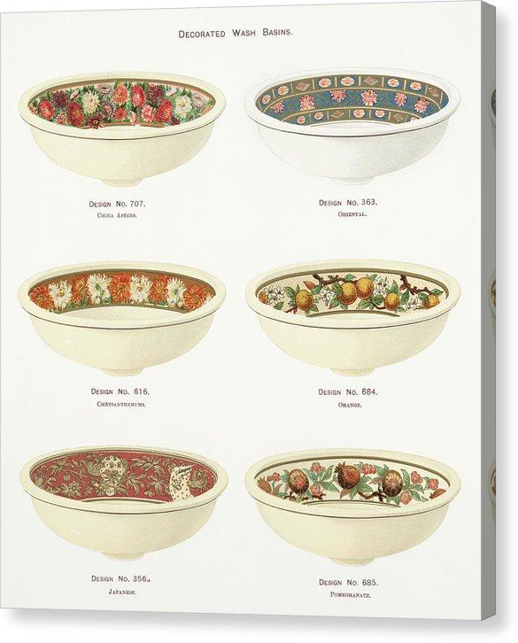 Antique Illustration of Decorative Bowls From 1884, 2 of 4 Set - Canvas Print from Wallasso - The Wall Art Superstore