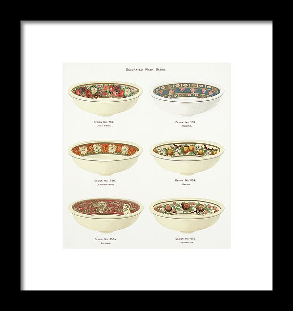 Antique Illustration of Decorative Bowls From 1884, 2 of 4 Set - Framed Print from Wallasso - The Wall Art Superstore