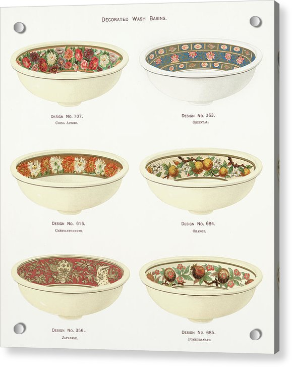Antique Illustration of Decorative Bowls From 1884, 2 of 4 Set - Acrylic Print from Wallasso - The Wall Art Superstore