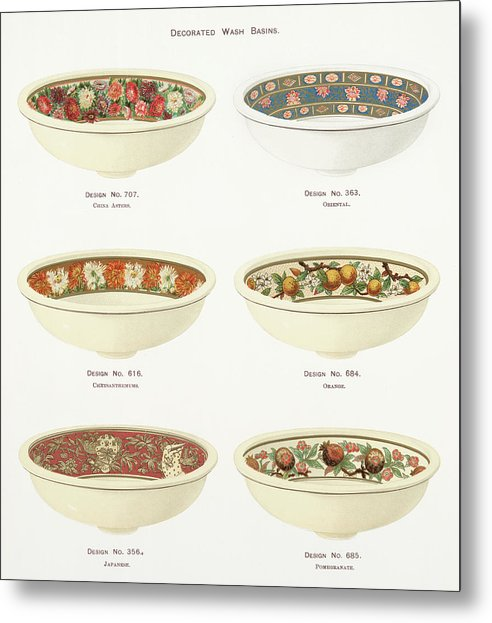 Antique Illustration of Decorative Bowls From 1884, 2 of 4 Set - Metal Print from Wallasso - The Wall Art Superstore