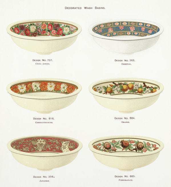 Antique Illustration of Decorative Bowls From 1884, 2 of 4 Set - Art Print from Wallasso - The Wall Art Superstore