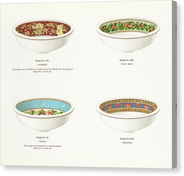 Antique Illustration of Decorative Bowls From 1884, 3 of 4 Set - Canvas Print from Wallasso - The Wall Art Superstore