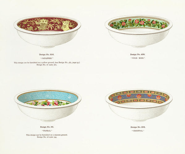 Antique Illustration of Decorative Bowls From 1884, 3 of 4 Set - Art Print from Wallasso - The Wall Art Superstore
