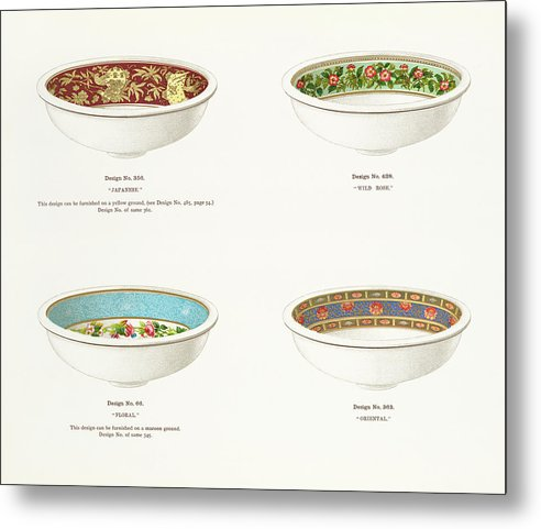 Antique Illustration of Decorative Bowls From 1884, 3 of 4 Set - Metal Print from Wallasso - The Wall Art Superstore
